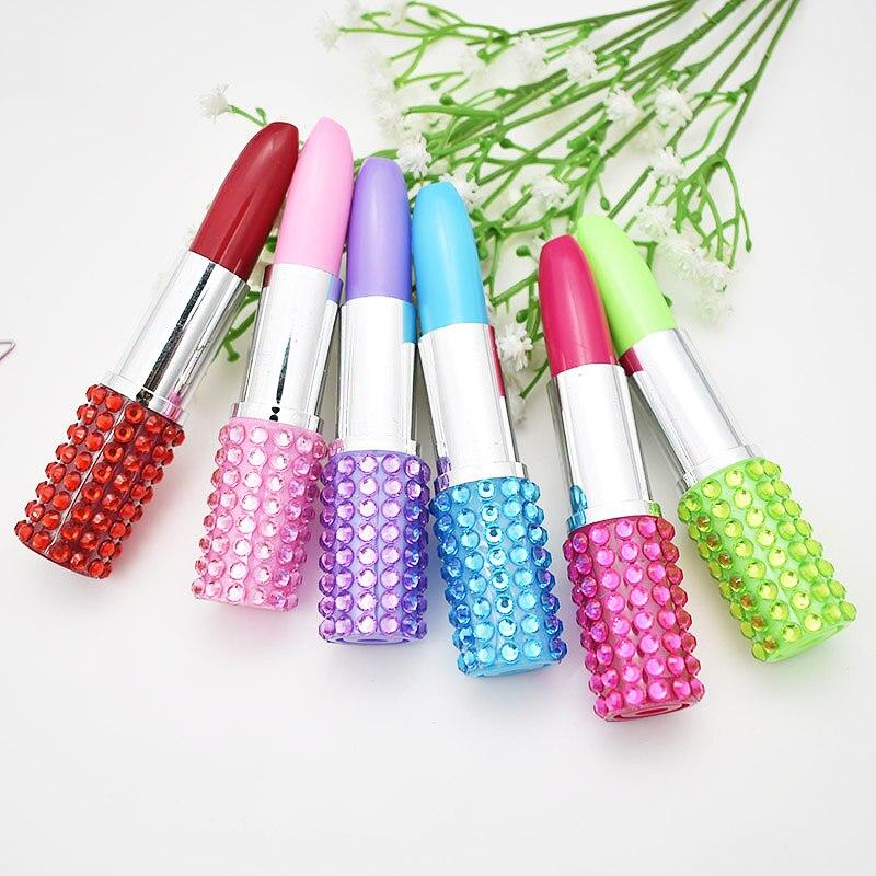 4 Pcs/lot Creative Lipstick Plastic Ballpoint Pen Cute Kawaii Ball Pens For Kids Novelty Item School Supplies Student 3331