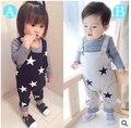 2015 New Hot Sale 2 Pcs Conjunto de Roupas de Bebê Bebe Unisex Camiseta de Manga Longa + Macacão Roupa Da Criança Infantil