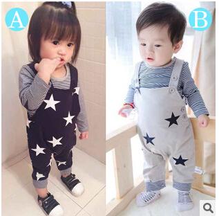 2015 Nueva Venta Caliente 2 Unids Ropa Del Bebé Unisex Ropa Infantil Bebe Manga Larga de la Camiseta + de Los Mamelucos Del Niño