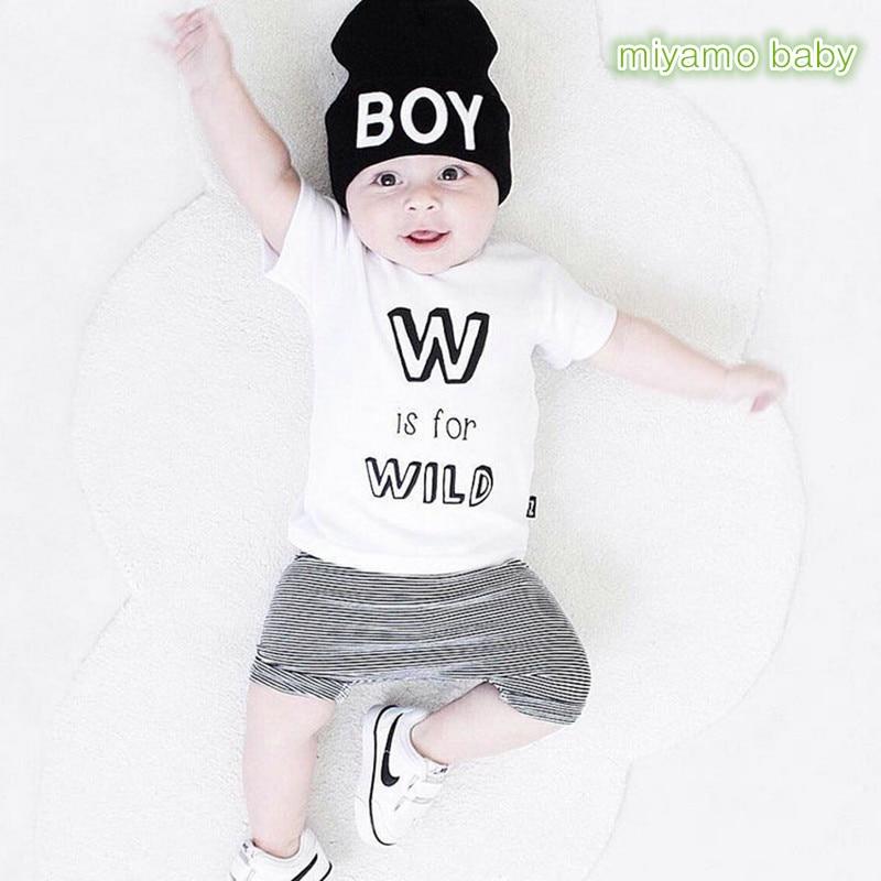 Ins Hot Sale Baby Suits 2017 Summer Boy Girl Letter White T-Shirt + Stripe Pants 2 pcs Set Short Sleeve