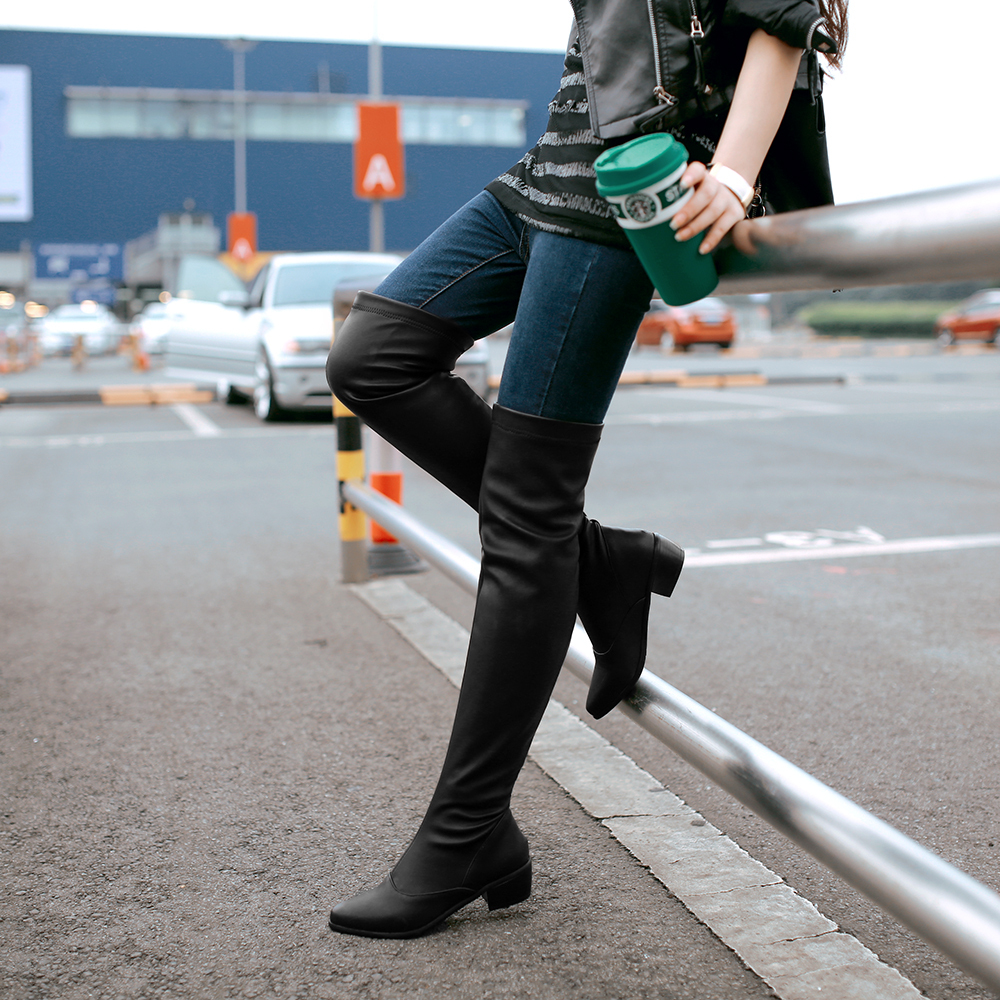 Aliexpress.com : Buy Free Shipping Over Knee Boots Sexy Women low ...