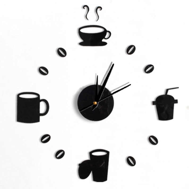 Modern Design 3D DIY Digital Number Coffee Cup Acrylic Clock Self-adhensive Quartz Non-ticking Wall Clock Kitchen Home Decor