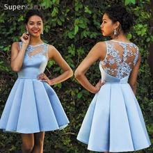 SuperKimJo Cheap Graduation Dresses 2019 Blue Lace Applique Homecoming Short Prom Dress Vestidos De Festa Curto