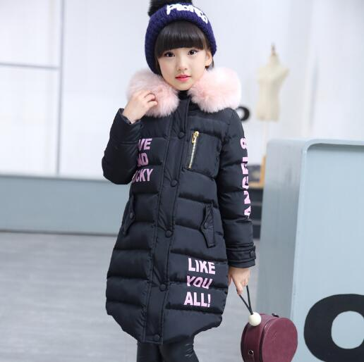 2018 Girls Winter Coat Children Casual Outerwear Fashion Warm Long Thick Hooded Jacket Teenage Girls Kids Parkas Girl Clothing fashion long parka kids long parkas for girls fur hooded coat winter warm down jacket children outerwear infants thick overcoat