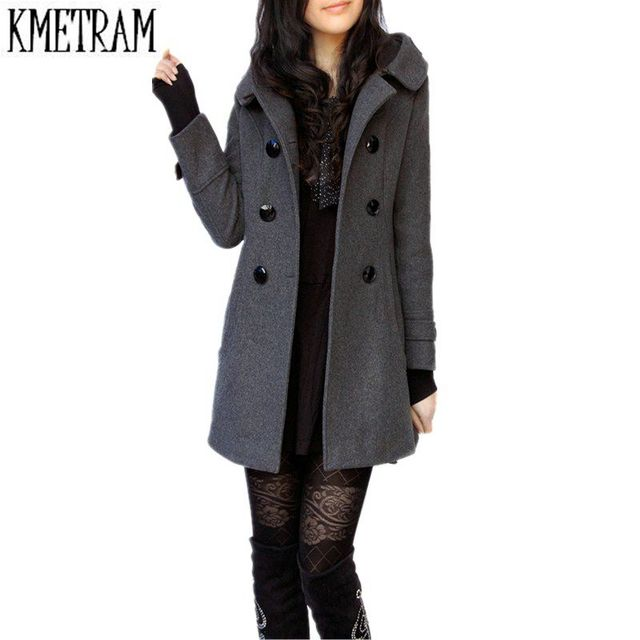 d558fc4701230 New 2017 Casaco Feminino Women Wool Coats Brand Hooded Double-breasted  Casaco Autumn Winter Thick Casacos Jackets XS-XXXL A0339