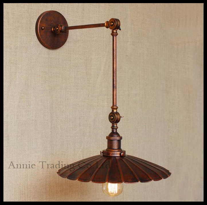 ac100240 wall sconces lamp d34cm rustic industrial retro nostalgia ferruginous decorative wall light sconce