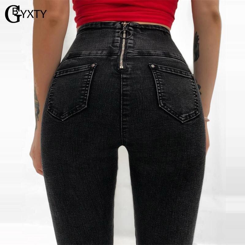 GBYXTY Sexy A Vita Alta Push Up Posteriore Della Chiusura Lampo Dei Jeans Delle Nuove Donne Autunno Inverno Fasciatura Nero Skinny Jeans Denim Pantaloni feminino ZA960