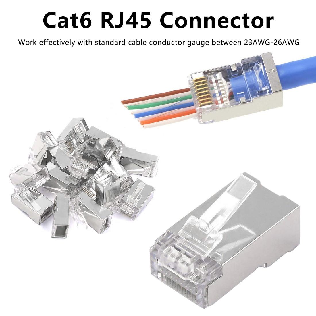 Сетевой кабель Cat6 RJ45 Разъем модульный кабель Ethernet Головка Штекер Cat 6 обжимной сети RJ 45 позолоченный