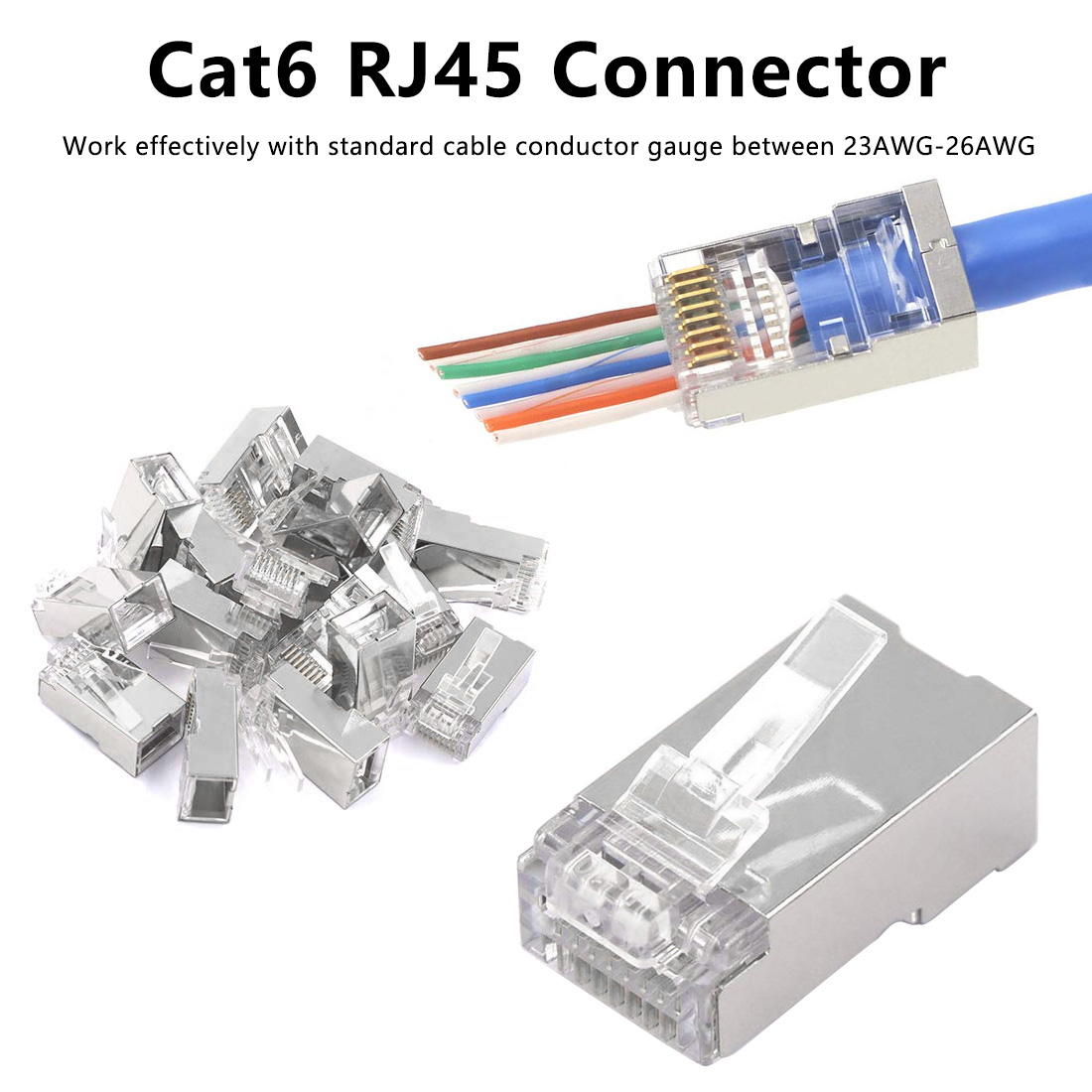 Networkingcable Cat6 RJ45 Connector Modular Ethernet Cable Head Plug Cat 6 Crimp Network RJ 45 Gold-plated