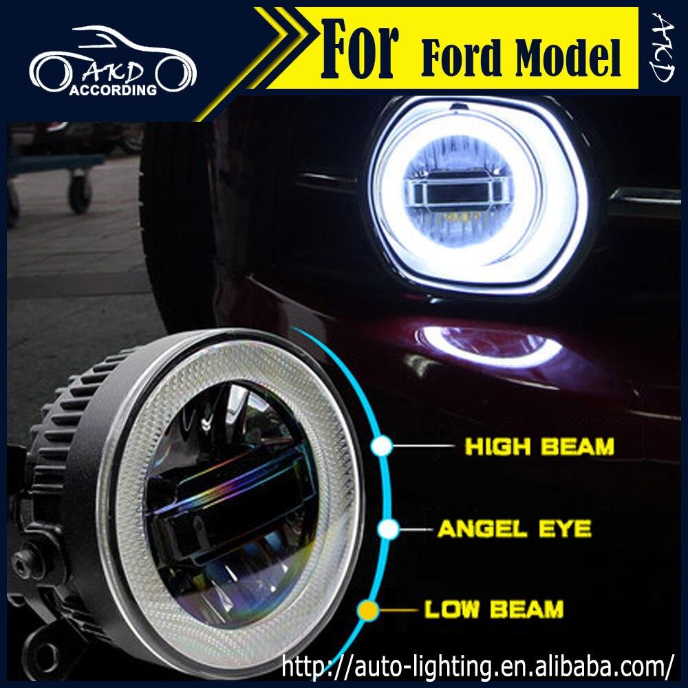 Akd car styling angel eye fog lamp for ford mustang led fog light mustang led drl 90mm high beam low beam lighting accessories