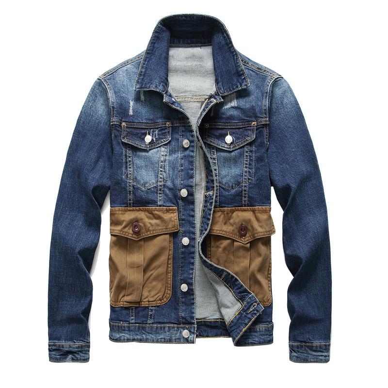 Sokotoo Men's big multi pockets jean jacket Slim ripped long sleeve denim coat Outerwear Top clothing