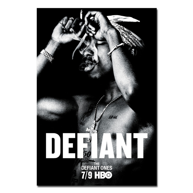 2pac tupac shakur black and white art poster canvas art cloth fabric print wall pictures for