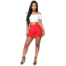 Adogirl Distressed Red Jeans Shorts Solid Color Fringed Sanded Denim Women Summer Casual Straight High Waist Trousers