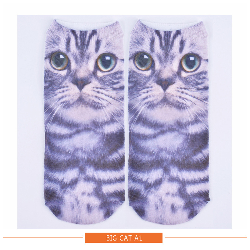 New Harajuku Cute Cats Socks Men Women 3D Print Socks Cotton Funny Socks White Cat Low Cut Ankle Socks Multiple Colors