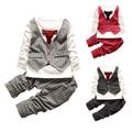 12 M-5 T do bebê meninos conjuntos de roupas de moda da menina da criança set roupas cavalheiro Gravata stripe shirt + calças 2 pcs roupa dos miúdos dos meninos