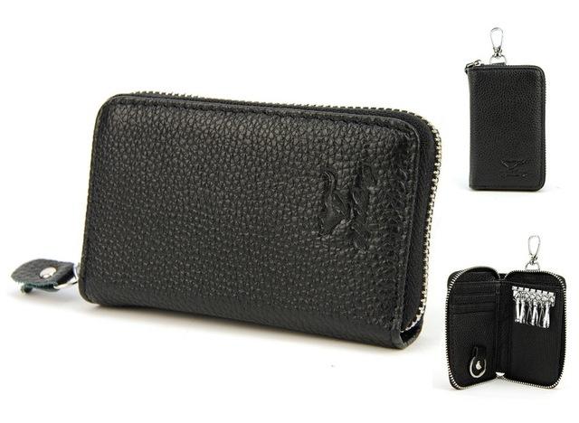 Hombres mujeres Unisex de cuero verdadero genuino moneda tarjeta de crédito Car Auto Ring Key Holder monedero caja del filtro del dinero monedero cremallera clásico