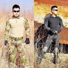 Uiforme airsoftsports наколенниками militar multicam военной тактическая армии форме качество брюки
