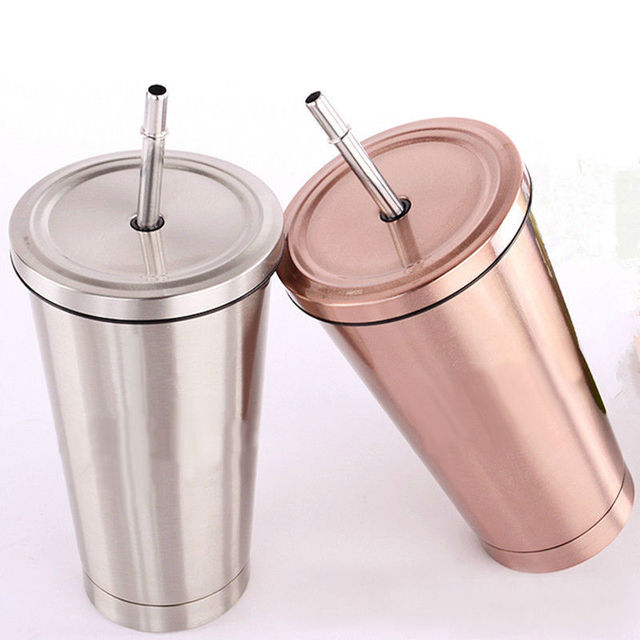 New Vacuum Insulated Travel Mug Stainless Steel Thermos Cup Car Coffee Tea  Drink Cup Water Bottle With Straw-in Mugs from Home & Garden on