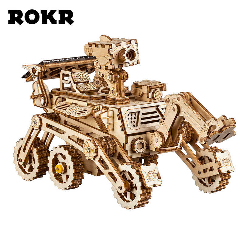 Rokr DIY Space Hunting Solar Energy Toys 3d Wooden Puzzle Game Assembly Model Building Kit Toys For Children Kids Adult LS402