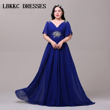 Robes de bal en mousseline de soie bleu Royal robe longue Formatura perles Gala Jurken robe de bal à manches courtes robe de soirée élégante grande taille