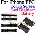 2 pçs/lote new alta qualidade para iphone 4g 4s 5g 5S 5c lcd tela de toque digitador fpc conector da bateria Motherboard