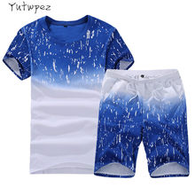 Summer Men Set Sporting Suits T Shirt+Shorts Quick Drying 2 Piece Set Casual Male Tracksuit Men Clothing Sweat Suit 2019 Fashion(China)