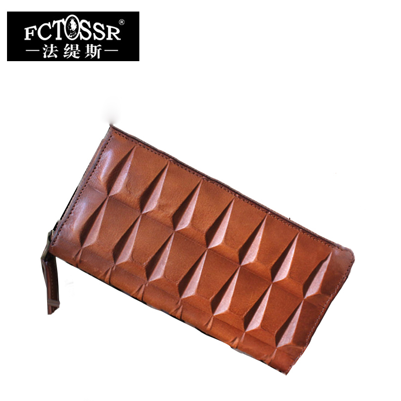 Фотография 2018 Special Design Retro Genuine Leather Wallet Women  Long style Clutch Card Holder Purse Handmade Womens Wallet