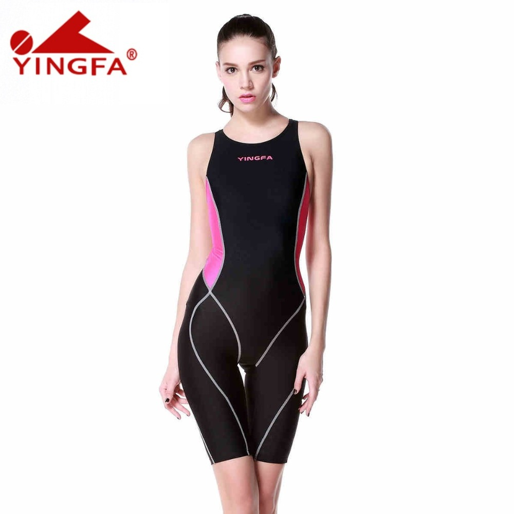 Yingfa professional competition swimsuit women girls one piece swimwear kids training swimwear racing sharkskin knee swimsuit competition racing one piece swimsuit