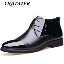 YIQITAZER 2017 Rubber Soles PU Leather Men Military Ankle Snow Boots,Nature Wool Fur Inside Winter Army Boots Man Business Shoes