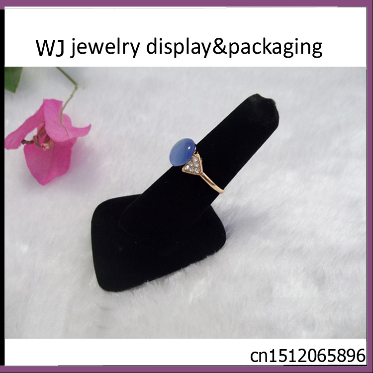 Fashion Top Black Velvet Ring Finger Jewelry Holder Showcase Display Stand Holder for Jewellery Shop Window Countertop Retail