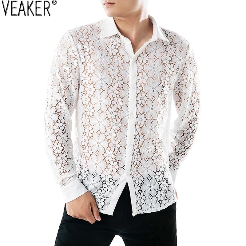 2019 Autumn New Men's Floral Mesh Shirt Black White Male Sexy Transparent Hollow Out Shirt  See Through Slim Fit Casual Tops