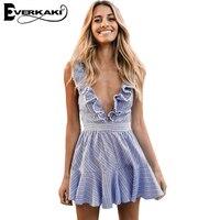 Everkaki 2017 Summer Women Sexy Ruffles Dresses Boho Striped Dress V Neck Sleeveless High Waist Lace