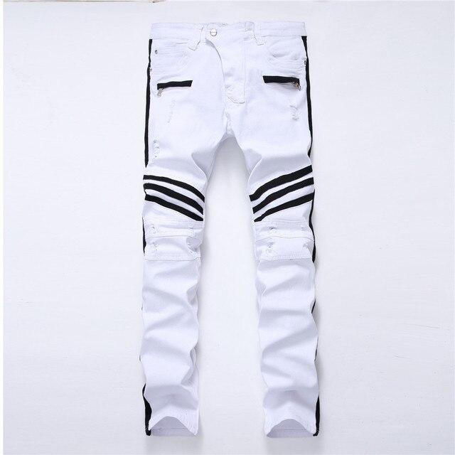 白人男性のジーンズストレート新ブランドリッピング穴デニムジーンズジッパーサイドブラックストライプ、男性のパンツスリムプラスサイズのズボン