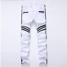 Ripped לבן גברים של ג ינס ישר חדש מותג חור ג ינס ג ינס עם רוכסנים צד שחור פס זכר מכנסיים Slim בתוספת גודל מכנסיים