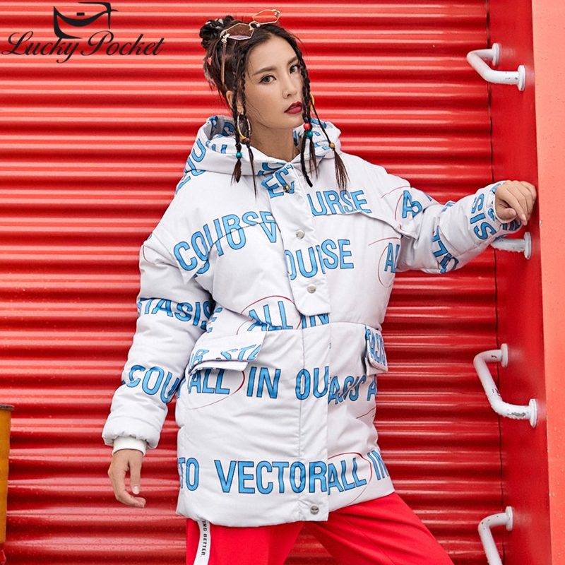 Women Winter New Thick Hooded Wadded Cotton Coat Female Harajuku Fashion Letter Print Parkas Plus Size