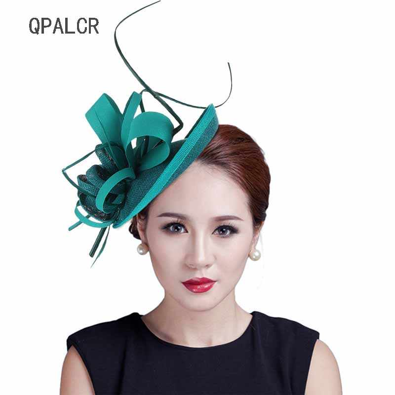QPALCR Summer Fascinators Hats Women Black Red Sinamay Pillbox Hat Girls Lady Formal Church Wedding Dress Line Feather Fedoras