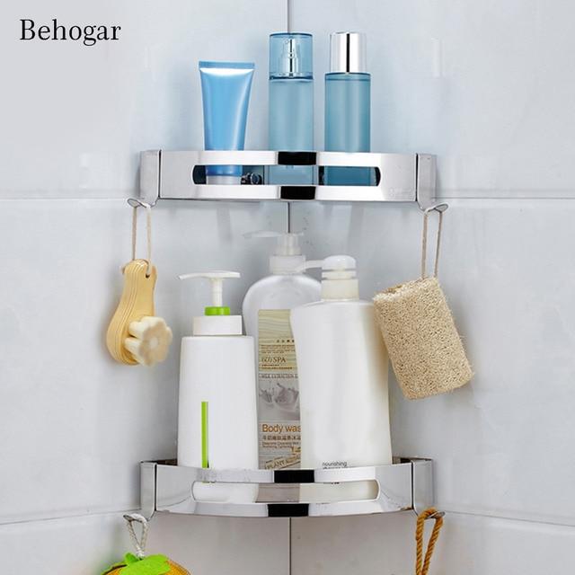 Behogar 3M Adhesive No Drilling Triangle Baskets Stainless Steel Bathroom  Corner Shower Caddy Shelf Storage Rack