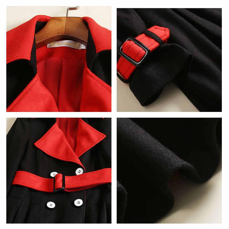 Женское модное Черное длинное шерстяное пальто высокого качества, кашемировое пальто, Женское зимнее элегантное пальто