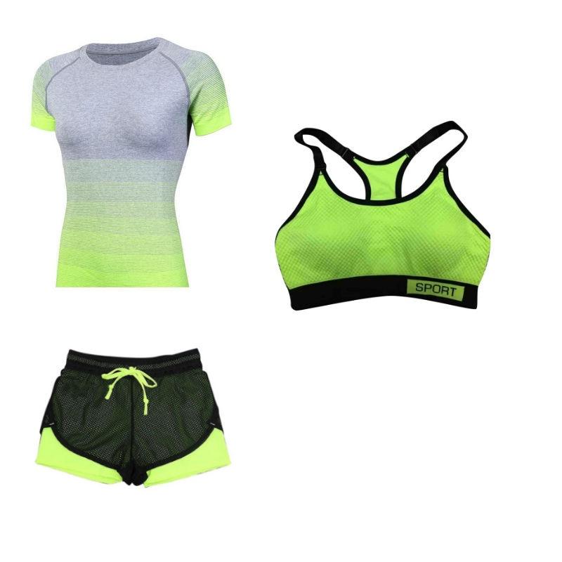 ①  Женская спортивная йога для бега из трех частей дышащая быстросохнущая йога комплект красивый 7 ★