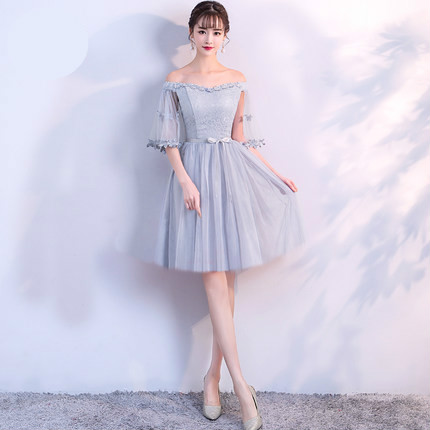 Detail Feedback Questions about Bride Sister Gray Half Sleeve Bridesmaid  Dress Boat Neck Knee Length Short Bridesmaid Dresses S850 Size 2 to Size 16  on ... 29ef8e53223f
