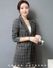 Casual Work Long Sleeve Suit Blazer Women Ladies Plaid Long section Blazers 2017 Coat Jacket Office Outwear Chaquetas Mujer 3XL