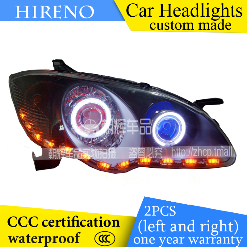 Hireno custom Modified Headlamp for BYD F3 2008-2014 Headlight Assembly Car styling Angel Lens Beam HID Xenon 2 pcs hireno headlamp for cadillac xt5 2016 2018 headlight headlight assembly led drl angel lens double beam hid xenon 2pcs
