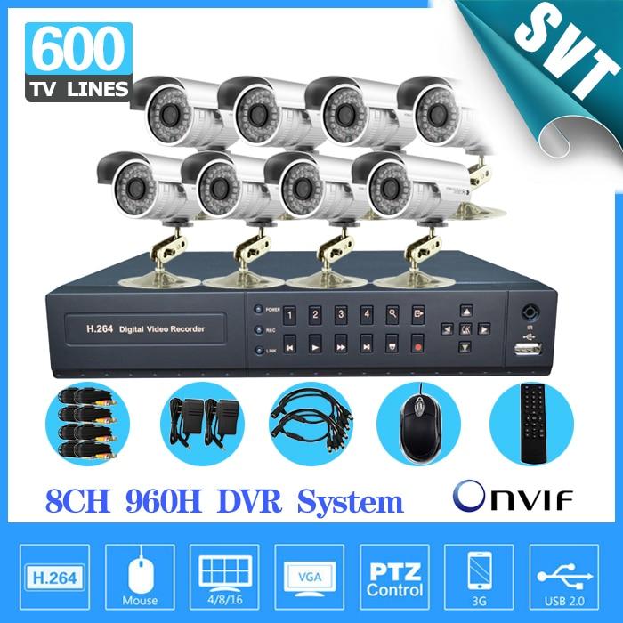 TEATE 8ch CCTV System 600TVL Waterproof Outdoor font b Camera b font Network full 960H D1