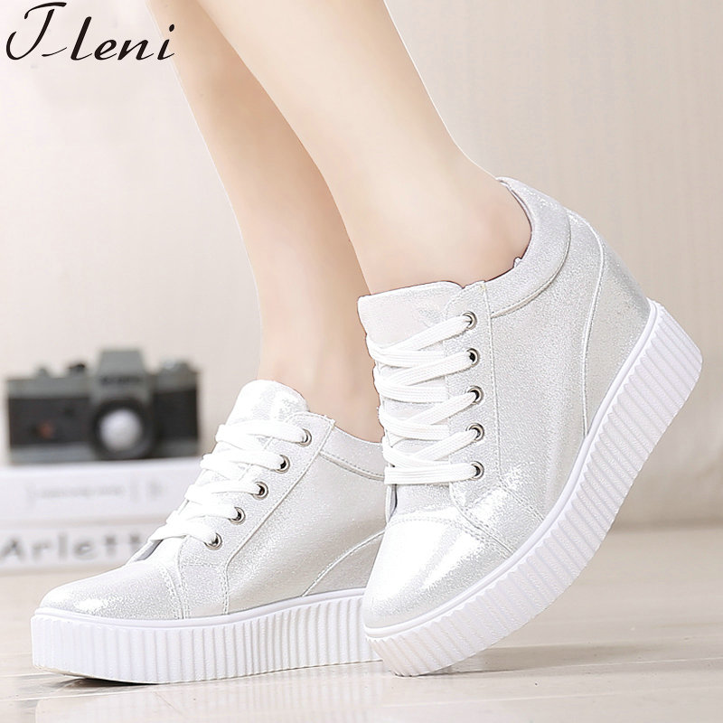 Tleni Spring Autumn Ladies Height Increase Wedge Sport Shoes Outdoor Woman Platform Sneakers Comfortable Breathable Shoes ZK-03Tleni Spring Autumn Ladies Height Increase Wedge Sport Shoes Outdoor Woman Platform Sneakers Comfortable Breathable Shoes ZK-03