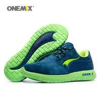 ONEMIX Man Running Shoes For Men Fashion Retro Suede Run Athletic Trainers Black PigSkin Sports Shoe