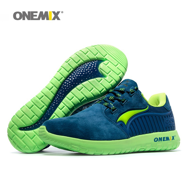 ONEMIX Man Running Shoes For Men 2018 Nice Retro Suede Run Athletic Trainers Navy Pig Skin Sports Shoe Outdoor Walking Sneakers 2017brand sport mesh men running shoes athletic sneakers air breath increased within zapatillas deportivas trainers couple shoes
