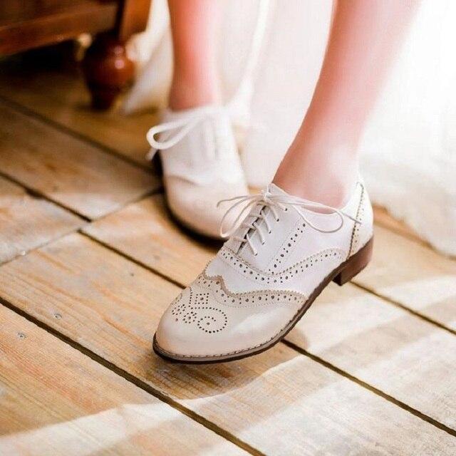 Oxford Zapatos Vendimia Corte Cordón Dos Cuero De Colores 4xSBfqYA1w