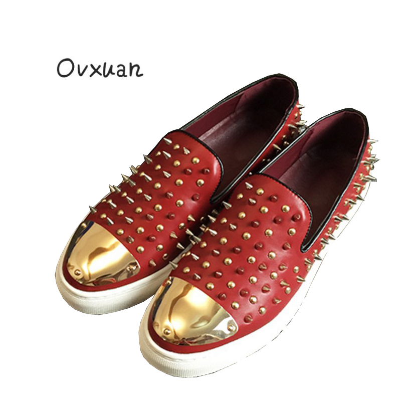 цена на Ovxuan CL Same Style Casual Rivet Spike Men Shoes Handmade Loafers Fashion Party Wedding Men's Dress Shoes Genuine Leather Flats