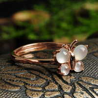 100% Natural / Jadeite A Grade Butterfly Ring Women's Ring 1PCS