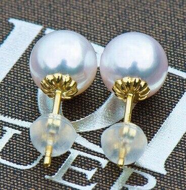 Boucles d'oreilles AU750 solide avec capuchon de perles de 3.5mm, peut s'adapter à des perles de 6-8 MM pour bricolage perle gemme boucle d'oreille raccord 2 paires/lot - 3